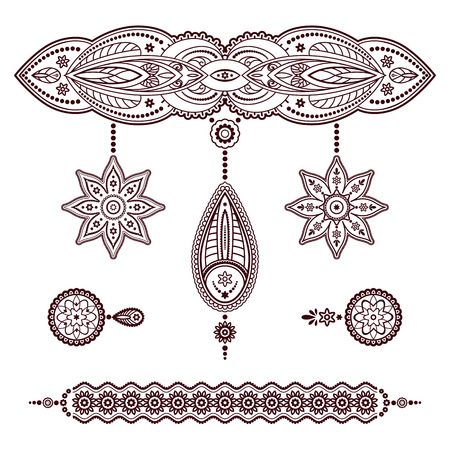 Set of henna tattoo templates, decorative doodle elements, pendant and bracelet ornaments in Mehndi style on white Illustration