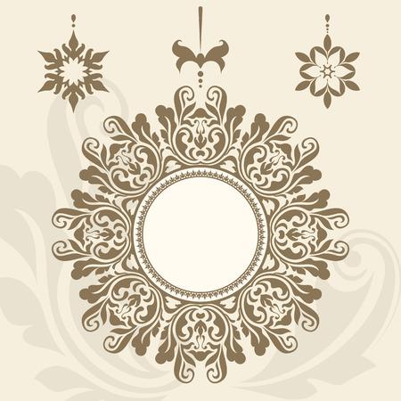 vignettes: Vintage gold circle frame, label, vignette, set of decorative pendants in retro style Illustration