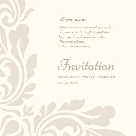 Vintage ornamental background with floral swirls, decorative frame in retro style, greeting card or invitation template