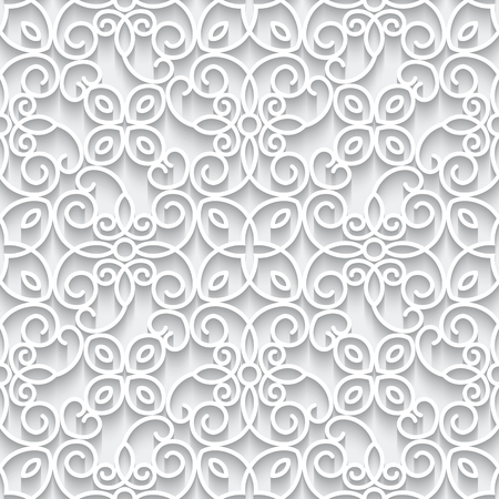 White background with cutout paper swirls, lace texture, seamless pattern in neutral color