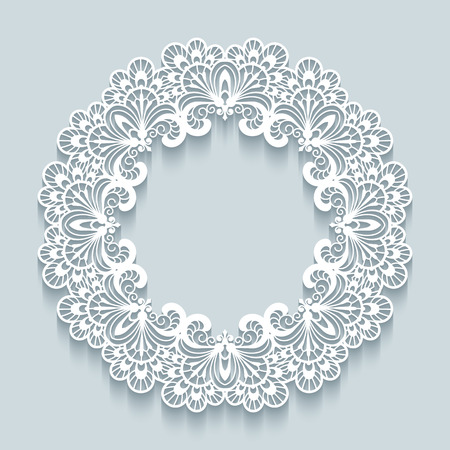 Paper lace background, vector round vignette, ornamental lacy frame Vectores