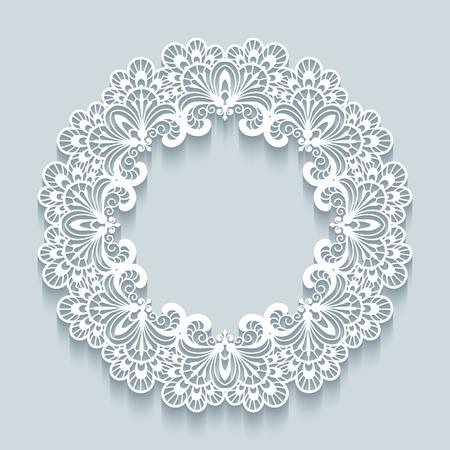 Paper lace background, vector round vignette, ornamental lacy frame Illustration