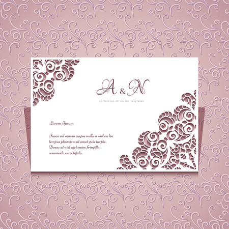 Rectangle cutout paper frame with ornamental lace corners, greeting card or wedding invitation template