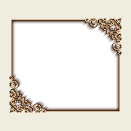 antique jewelry: Vintage gold background, rectangle jewelry frame with ornamental corners, greeting card or invitation template Illustration