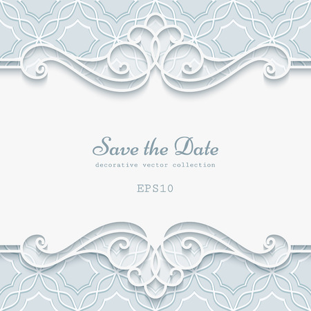 Cutout paper lace frame, divider, header, elegant greeting card or invitation template