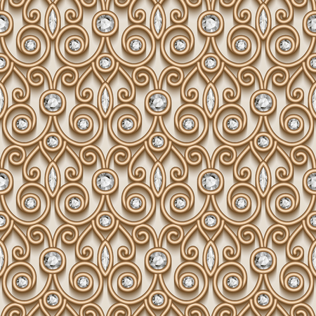 tulle: Vintage gold ornament, jewelry seamless pattern with diamonds