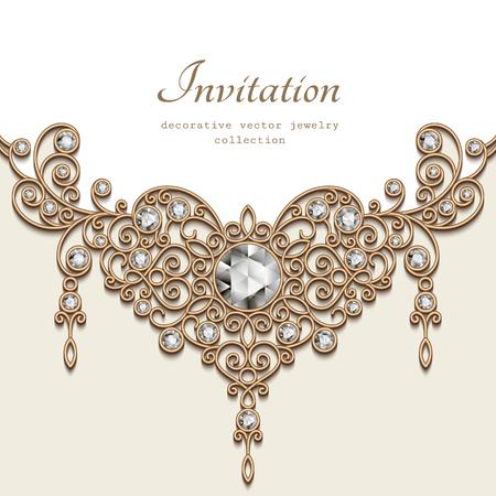 coeur en diamant: Vintage background avec la décoration de bijoux en or sur fond blanc, en filigrane collier de diamants bijoux, élégante carte de voeux ou modèle d'invitation