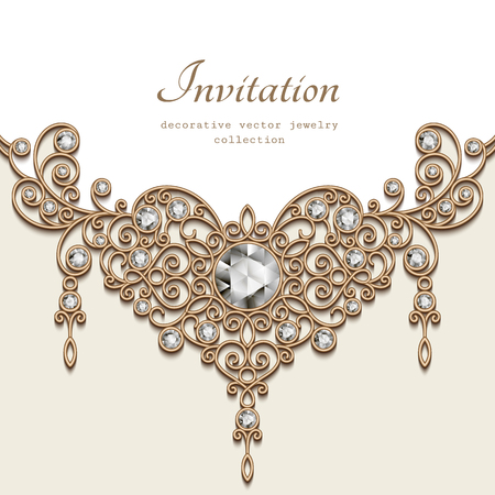 jewelry background: Vintage background with jewelry gold decoration on white background, filigree diamond jewellery necklace, elegant greeting card or invitation template Illustration