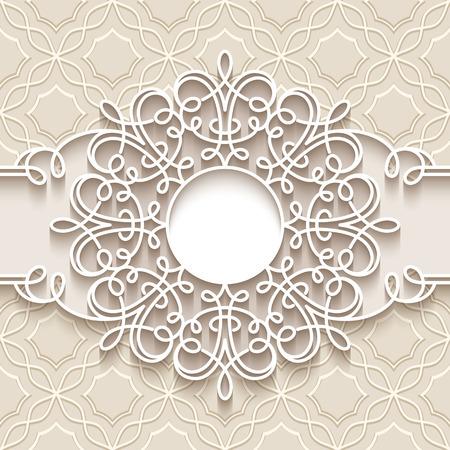 vignettes: Paper lace background, round vignette, ornamental lacy frame