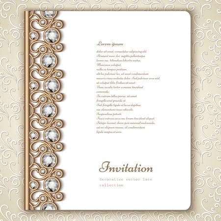 쥬얼리 골드 테두리 장식, 빈티지 결혼식 초대장 책 표지