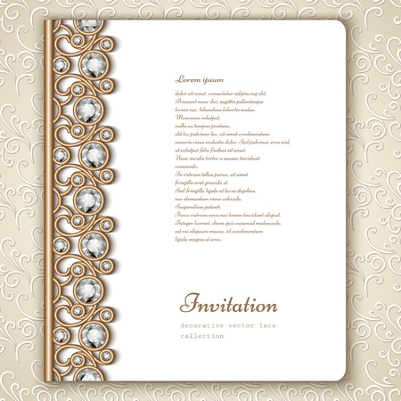 Book cover with jewelry gold border ornament, vintage wedding invitation template