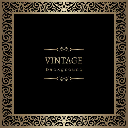 Vintage gold background, square ornamental frame on black