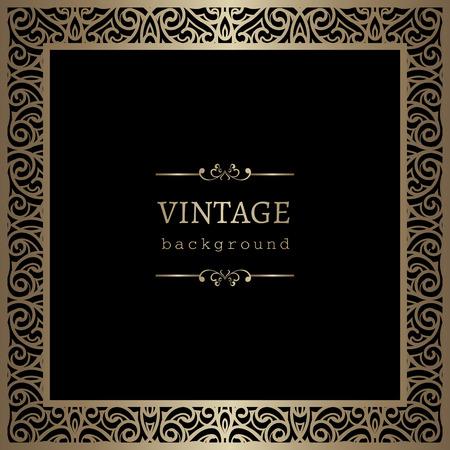 Vintage gouden achtergrond, vierkante sier frame op zwart Vector Illustratie
