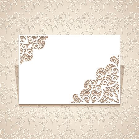 Rectangle knipsel papier frame met uitsparing kant hoek versiering, wenskaart of bruiloft uitnodiging template