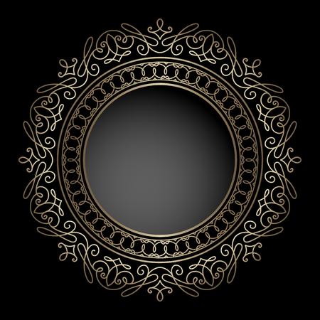 round: Vintage gold background, circle frame, round ornament on black