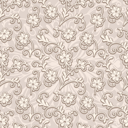 scrollwork: Abstract beige floral ornament, seamless pattern of small flowers