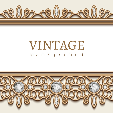diamond jewellery: Vintage gold background, jewellery frame with diamond jewelry borders on white Illustration