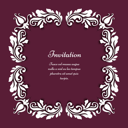 floral swirls: Square frame with floral corner decoration of paper swirls, greeting card or wedding invitation template