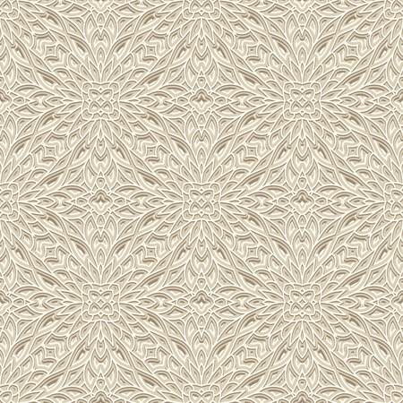 crochet: Vintage white ornament, knitted or crochet texture, seamless pattern, handmade lacy background in light color Illustration