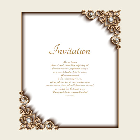 gold ornaments: Vintage gold background, rectangle jewelry frame with ornamental corners, greeting card or invitation template Illustration
