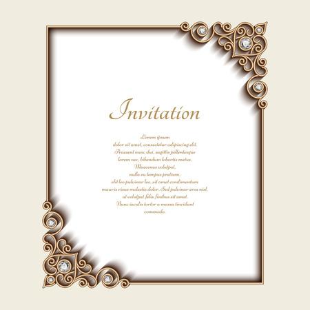 Vintage gouden achtergrond, rechthoek sieraden frame met sier hoeken, wenskaart of uitnodiging template Vector Illustratie
