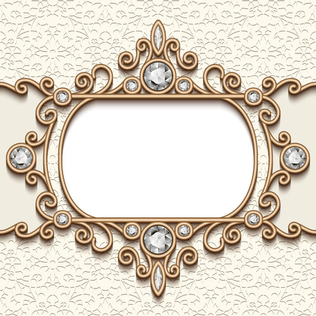Vintage gold background, diamond label template, swirly jewelry frame