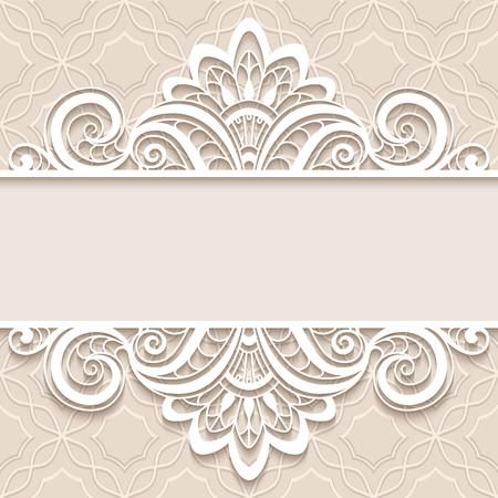 Elegant background avec ornement en dentelle frontière, diviseur, en-tête, cadre de dentelle de papier décoratif, carte de voeux ou de mariage modèle d'invitation