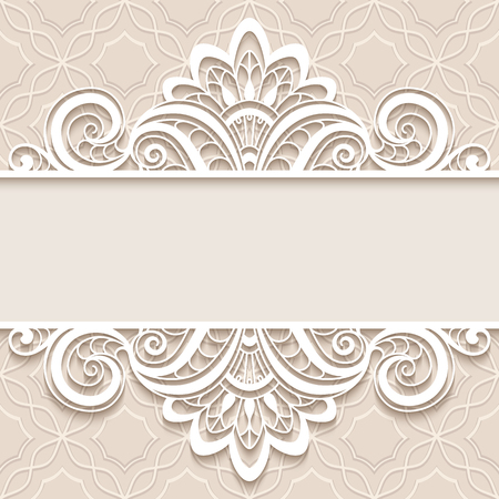 Elegant background with border lace ornament, divider, header, decorative paper lace frame, greeting card or wedding invitation template