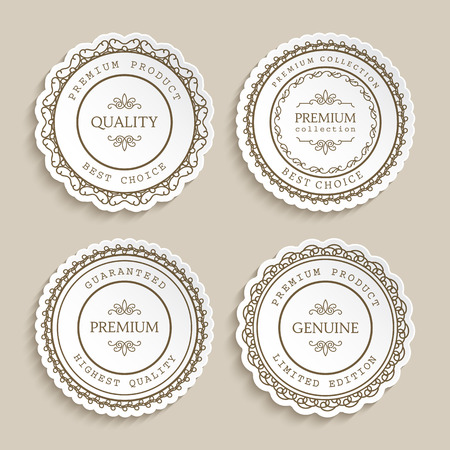 sticker: Set of vintage labels with ornamental border, badges, round stickers, cutout paper circle frames