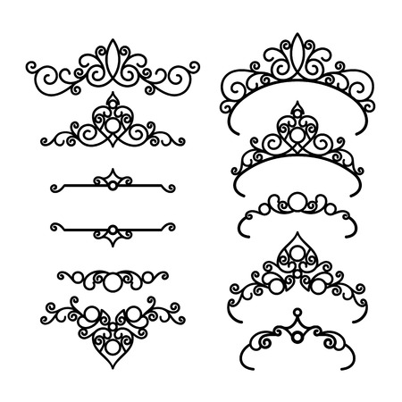 vignettes: Vintage calligraphic vignettes, set of elegant diadems and decorative design elements in retro style, linear scroll embellishment isolated on white