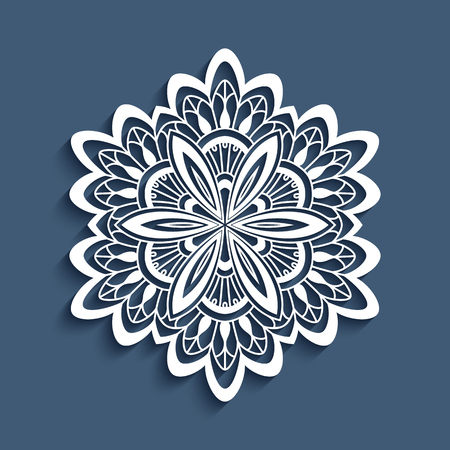 lacework: Paper lace doily, decorative snowflake, mandala, round crochet ornament