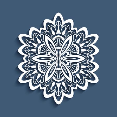 Papier dentelle napperon, flocon de neige décoratif, mandala, ornement de crochet rond