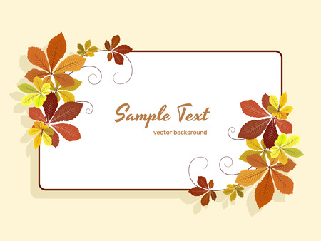 Autumn background with yellow fallen leaves, rectangle frame with corner decoration, greeting card or invitation template