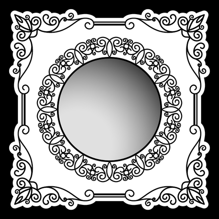 square frame: Vintage square frame with swirly corners and round ornament, scroll embellishment, decorative elements for packaging design