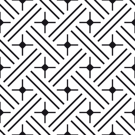 abstract black: Black and white ornament, abstract geometric line pattern