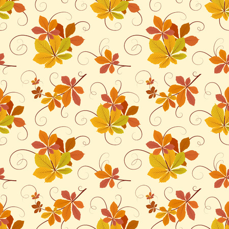 fallen: Autumn background, swirly seamless pattern with yellow fallen leaves Illustration