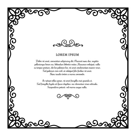 Black and white rectangle frame with linear border ornament vintage square frame with ornamental corners scroll embellishment on white certificate or invitation card yadclub Gallery