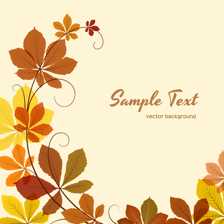 sycamore: Autumn background with yellow chestnut leaves, greeting card or invitation template