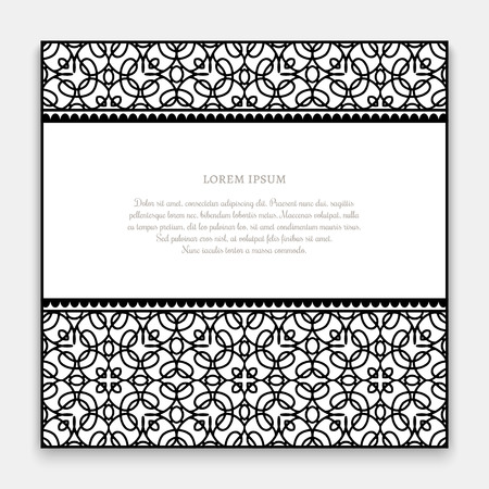 frame border: Black and white frame with ornamental border lines, decorative invitation or greeting card template