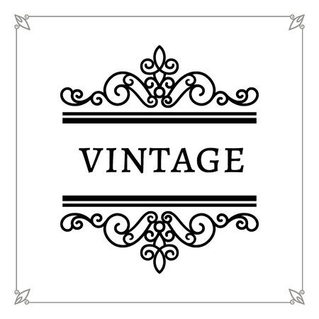 decorative line: Decorative frame, vintage calligraphic vignette, decorative design elements in retro style, scroll embellishment on white