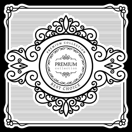 scrollwork: Vintage label design, black and white ornamental calligraphic vignette, swirly decorative frame, scroll embellishment in retro style