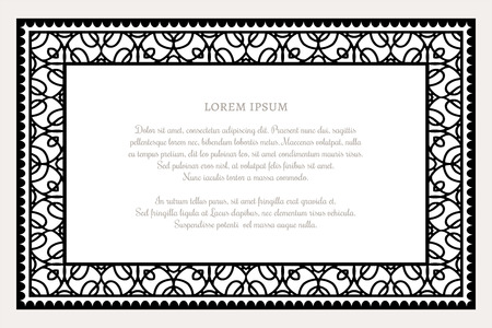 rectangle frame: Black and white rectangle frame with linear border ornament, certificate template, decorative design element in retro style Illustration