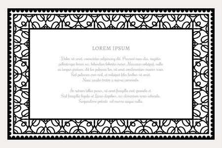 bordure de page: cadre rectangle noir et blanc avec ornement linéaire de la frontière, modèle de certificat, design décoratif dans le style rétro Illustration