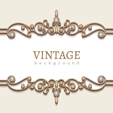 Vintage gold frame on white, divider element, elegant background with jewelry borders Illustration