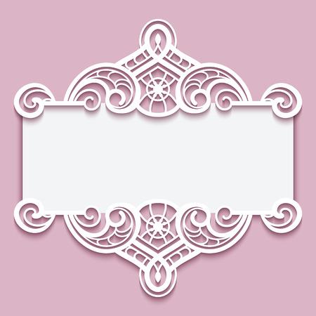 Cutout paper frame elegant greeting card or wedding invitation elegant cutout paper frame with lace border ornament greeting card or invitation template vector stopboris Gallery