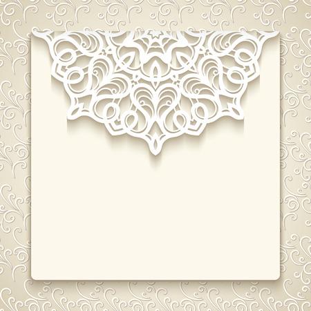 Grußkarte mit Spitzedekoration auf beige ornamentalen Hintergrund, Jahrgang Hochzeitseinladung oder Mitteilungsschablone