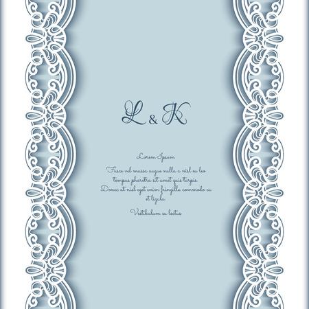 bordure de page: Vintage carte de voeux avec la décoration de la dentelle aux frontières, papier découpé fond, invitation de mariage ou d'un modèle d'annonce