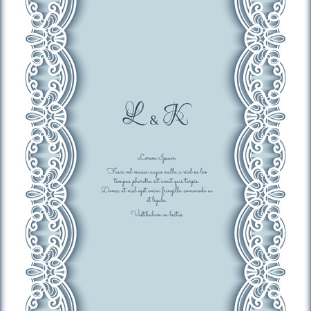 lacework: Vintage greeting card with lace border decoration, cutout paper background, wedding invitation or announcement template
