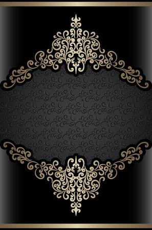label frame: Vintage gold background, swirly label, ornamental decorative frame Illustration