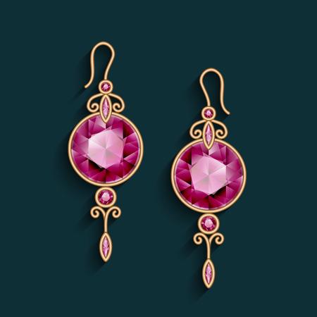 Vintage gold jewelry earrings with ruby gemstones, jewellery pendants, filigree female decoration